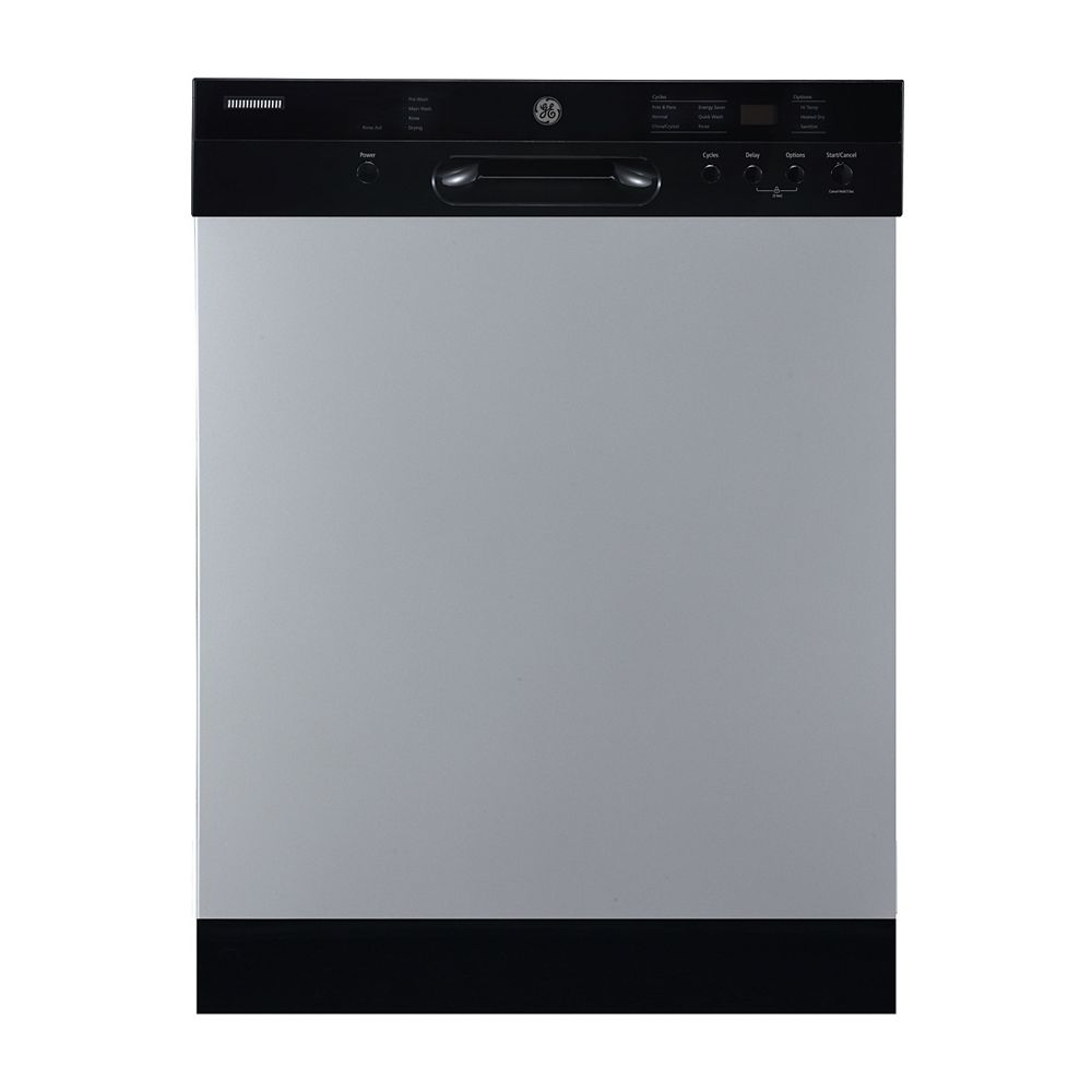 GE 24-inch Front Control Built-In Dishwasher with Stainless Steel Tub and Sanitization in Stainless Steel