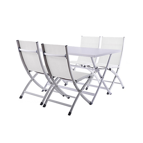 Brunch Folding Table and Bachelor Chairs 5-Piece Set - White