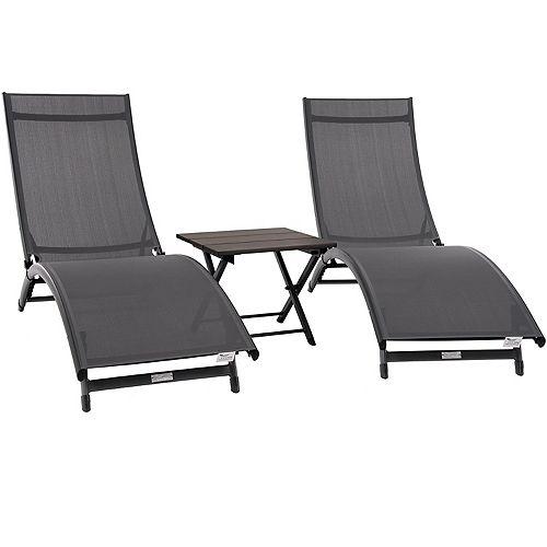 Coral Springs Lounger 3-Piece Set - Aluminum - Grey on Matte Black