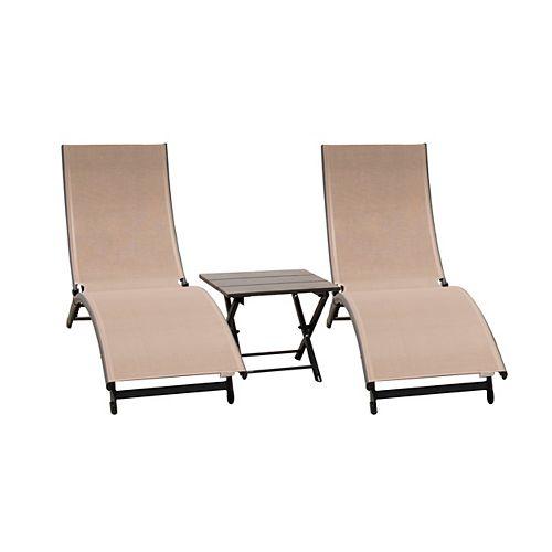 Coral Springs Lounger 3-Piece Set - Aluminum - Macchiato