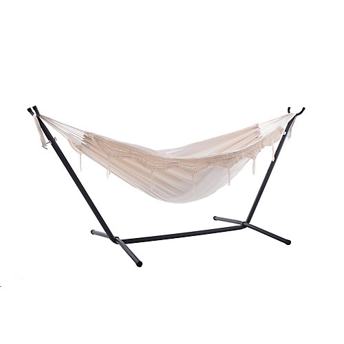Combo - Double Deluxe Natural with Fringe Hammock with Stand (9 ft.)