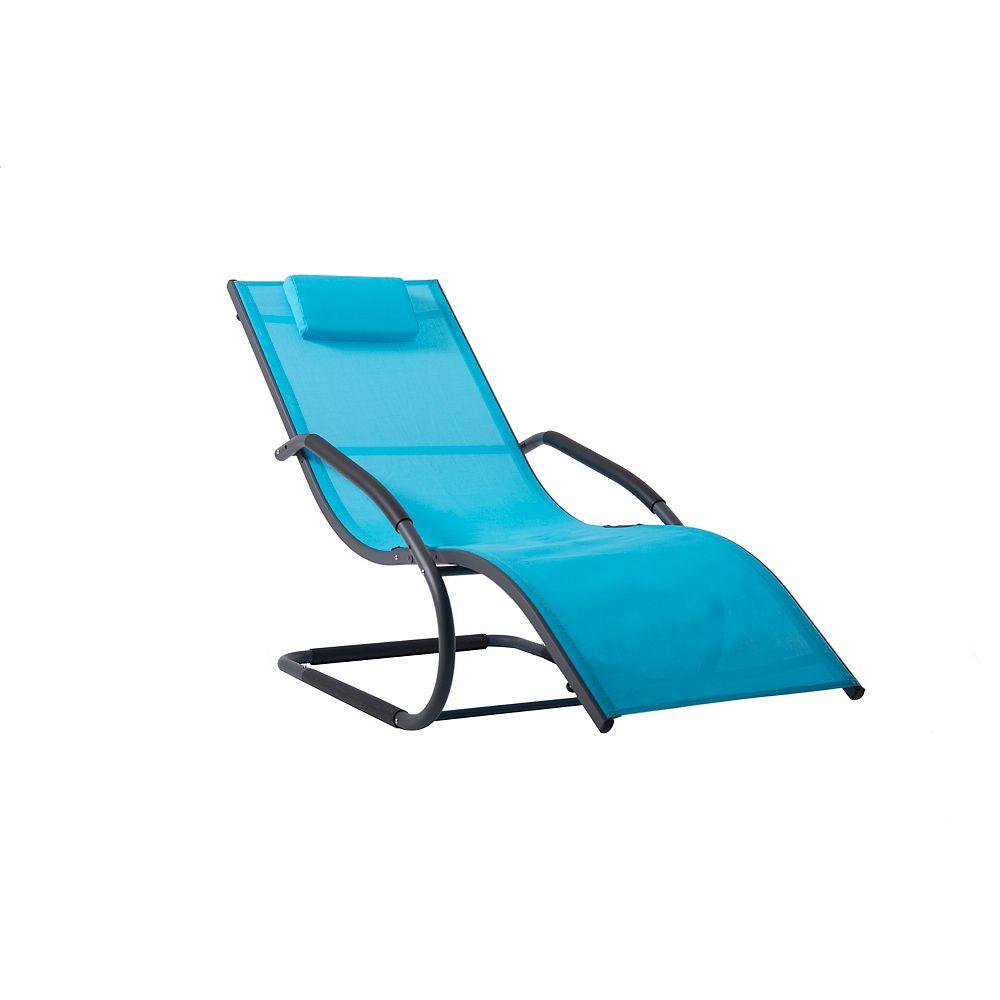 Vivere Wave Lounger - Aluminum - (Ocean Blue on Matte Dark Grey)