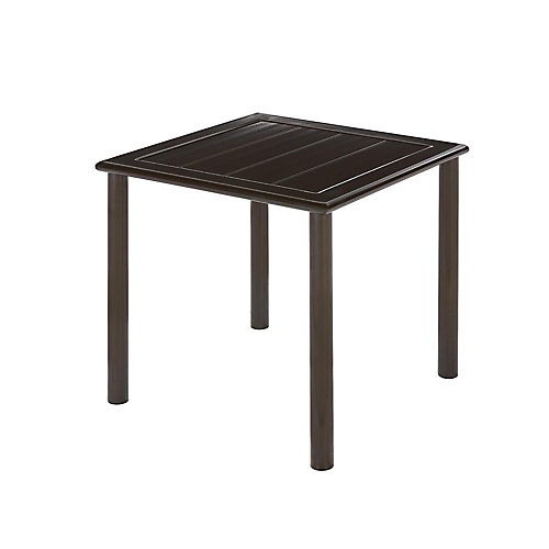 Table d'appoint de jardin Sterling brune, aluminium, carrée en lattes, 18 po, qualité commerciale
