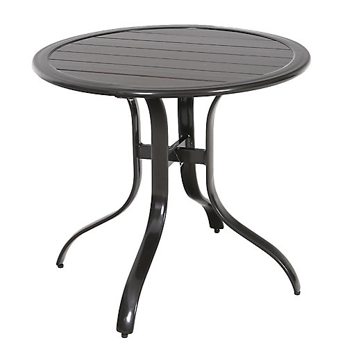 Table bistro de jardin Sterling, brune en aluminium, ronde en lattes, 30 po, qualité commerciale