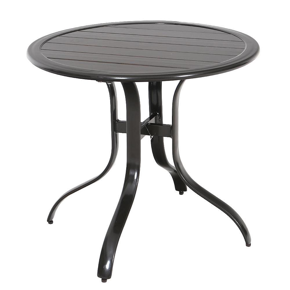Hampton Bay 30-inch Commercial Aluminum Outdoor Patio Slat Top Bistro Table in Brown