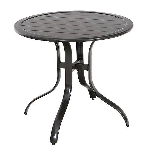 30-inch Commercial Aluminum Outdoor Patio Slat Top Bistro Table in Brown