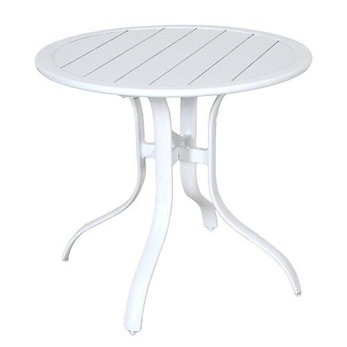 Table bistro de jardin Sterling blanche, aluminium, ronde en lattes, 30po, qualité commerciale