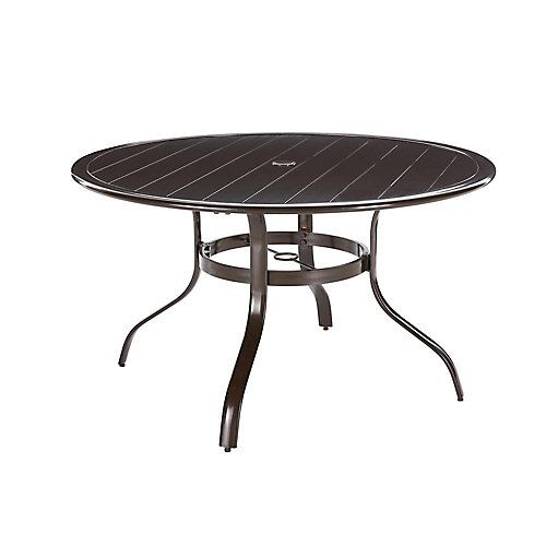 Commercial Aluminum 48-inch Round Outdoor Slat Top Dining Table in Brown