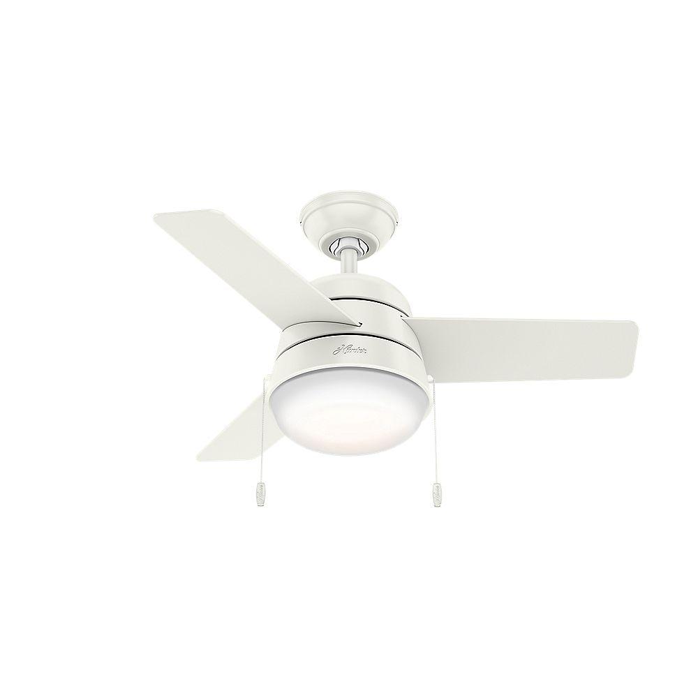 Hunter Aker 36po Ventilateur de plafond blanc frais LED intérieur