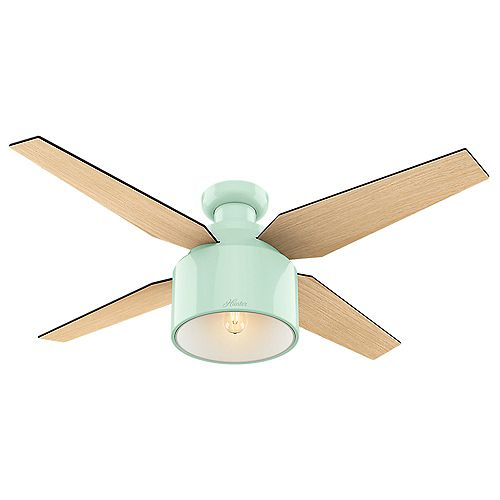 Cranbrook 52 inch LED Low Profile Indoor Mint Green Ceiling Fan