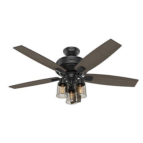 Hunter Bennett 52 inch LED Indoor Matte Black Ceilign Fan with 3-Light and Handheld Remote Control