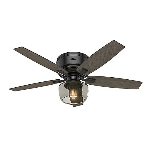 Bennett 52 inch LED Indoor Low Profile Matte Black Ceiling Fan with Handheld Remote Control