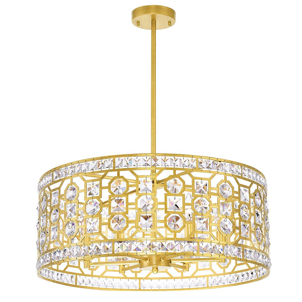 CWI Lighting 23 inch 6 Light Chandelier with Champagne Finish From our Belinda Collection
