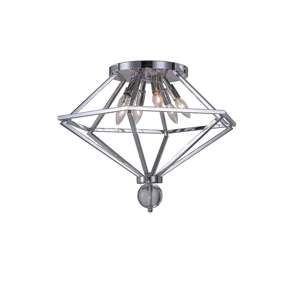 CWI Lighting 23 inch Calista 6 Lumière Flush Mount avec Fini Chrome