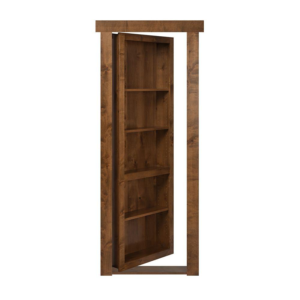 Murphy Door 28 inch x 80 inch Flush Mount Assembled Alder Medium Stain Left Hand In-Swing Interior Bookcase Door