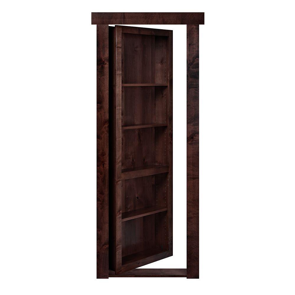 Murphy Door 28 inch x 80 inch Flush Mount Assembled Alder Dark Stain Left Hand In-Swing Interior Bookcase Door