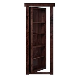 Porte-bibliothèque prémontée, encastrable, ouverture intérieure à droite, aulne foncé, 28 po x 80 po