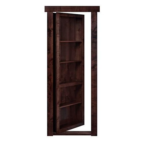 Porte-bibliothèque prémontée, encastrable, ouverture extérieure à droite, aulne foncé, 28po x 80po