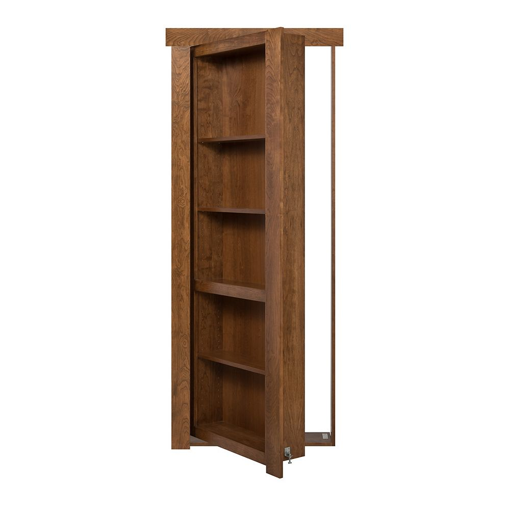Murphy Door 30 inch x 80 inch Flush Mount Assembled Cherry Medium Stain Right Hand Out-Swing Interior Bookcase Door