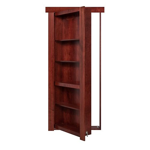 30 inch x 80 inch Flush Mount Assembled Cherry Cherry Stain Right Hand Out-Swing Interior Bookcase Door