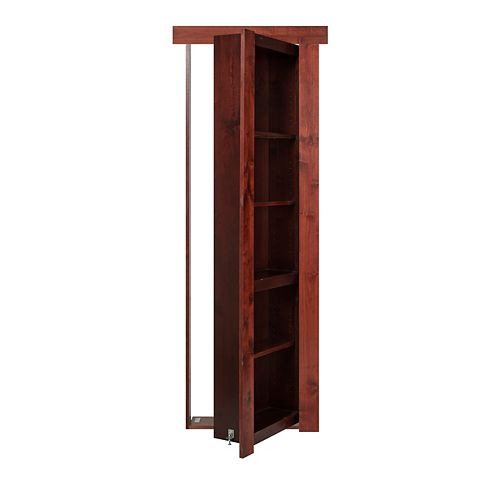 36 inch x 80 inch Flush Mount Assembled Alder Cherry Stain Right Hand Out-Swing Interior Bookcase Door