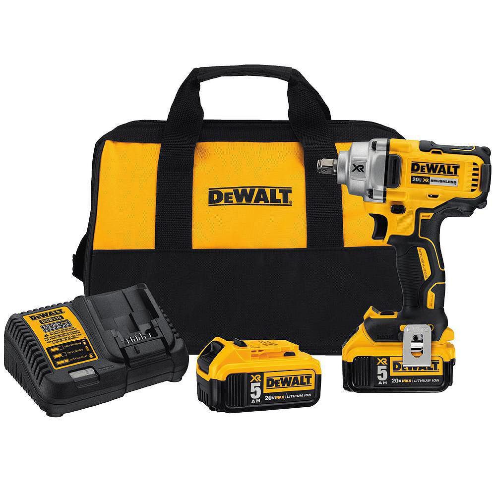 DEWALT 20V MAX XR 1/2-inch Mid Torque Impact Wrench (5.0 Ah) with 2 Batteries and Bag