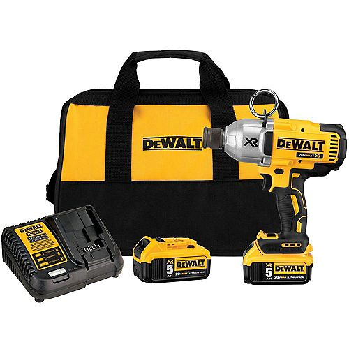 DEWALT 20V MAX XR Li-Ion Cordless Brushless High Torque 7/16-inch Impact Wrench w/ Quick Release Chuck, Batteries 5Ah