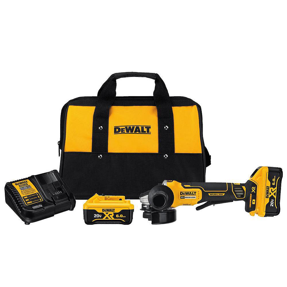 DEWALT 20V MAX Lithium Ion Cordless 4-1/2-inch (115 mm) Brushless Paddle Switch Small Angle Grinder Kit w/ Kickback Brake
