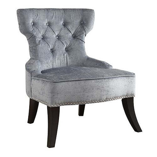 Colton Vintage Style Button Tufted Chair in Sea Blue Velvet