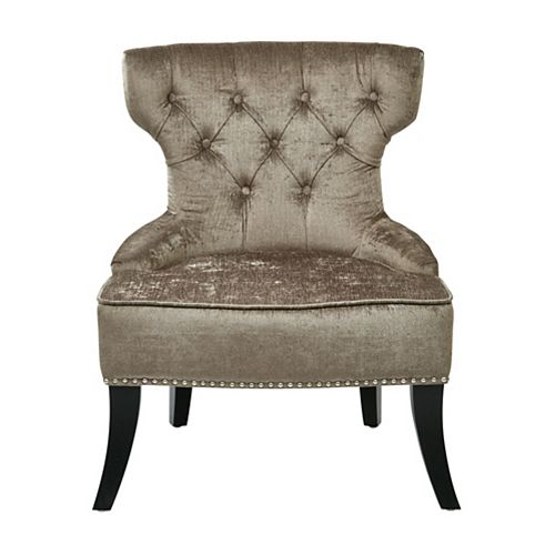 Colton Vintage Style Button Tufted Chair in Otter Velvet