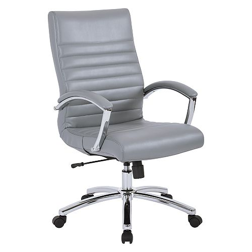Executive Mid-Back Chair in Grey Faux Leather with Padded Arms and Chrome Finish Base
