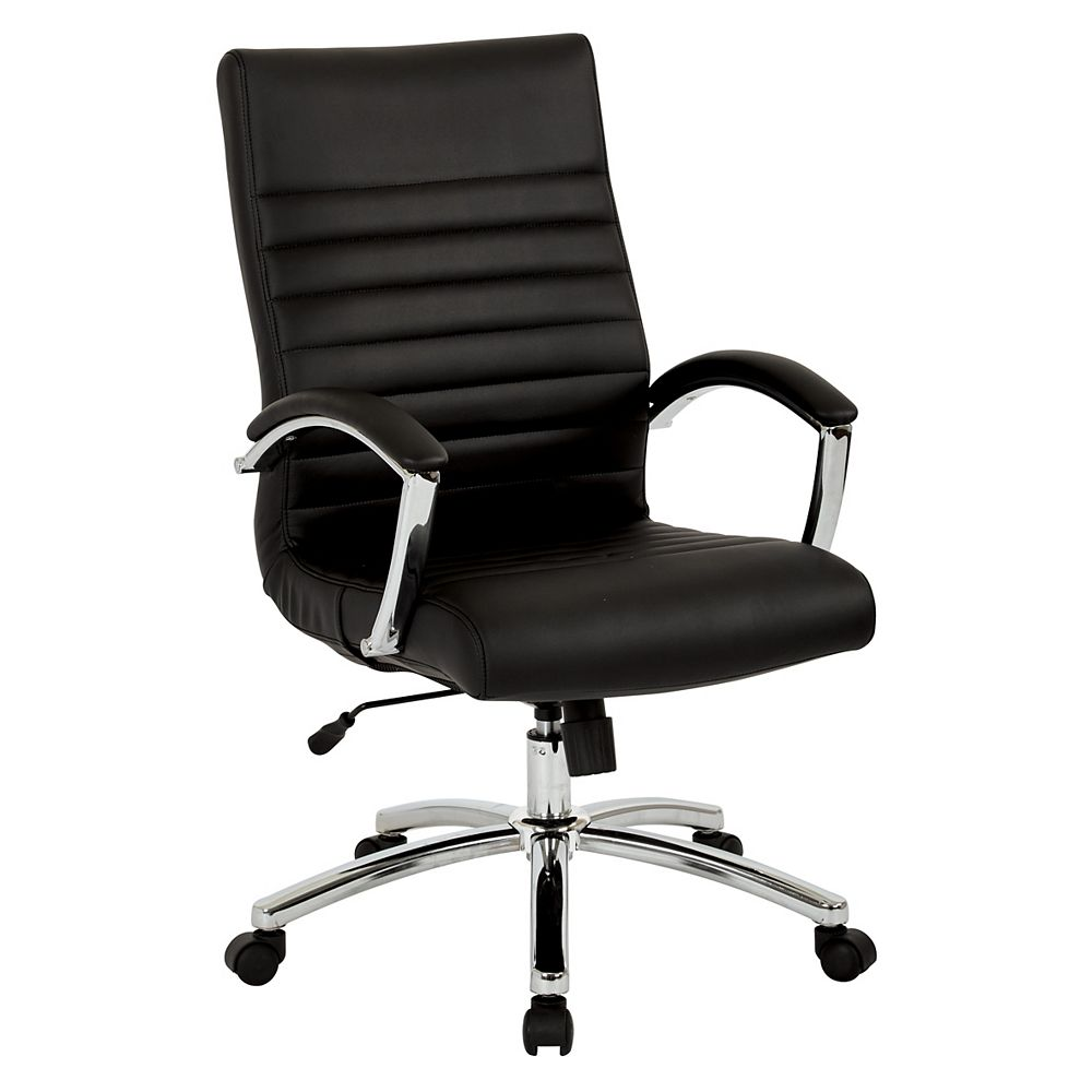 Work Smart Executive Mid-Back Chair in Black Faux Leather with Padded Arms and Chrome Finish Base