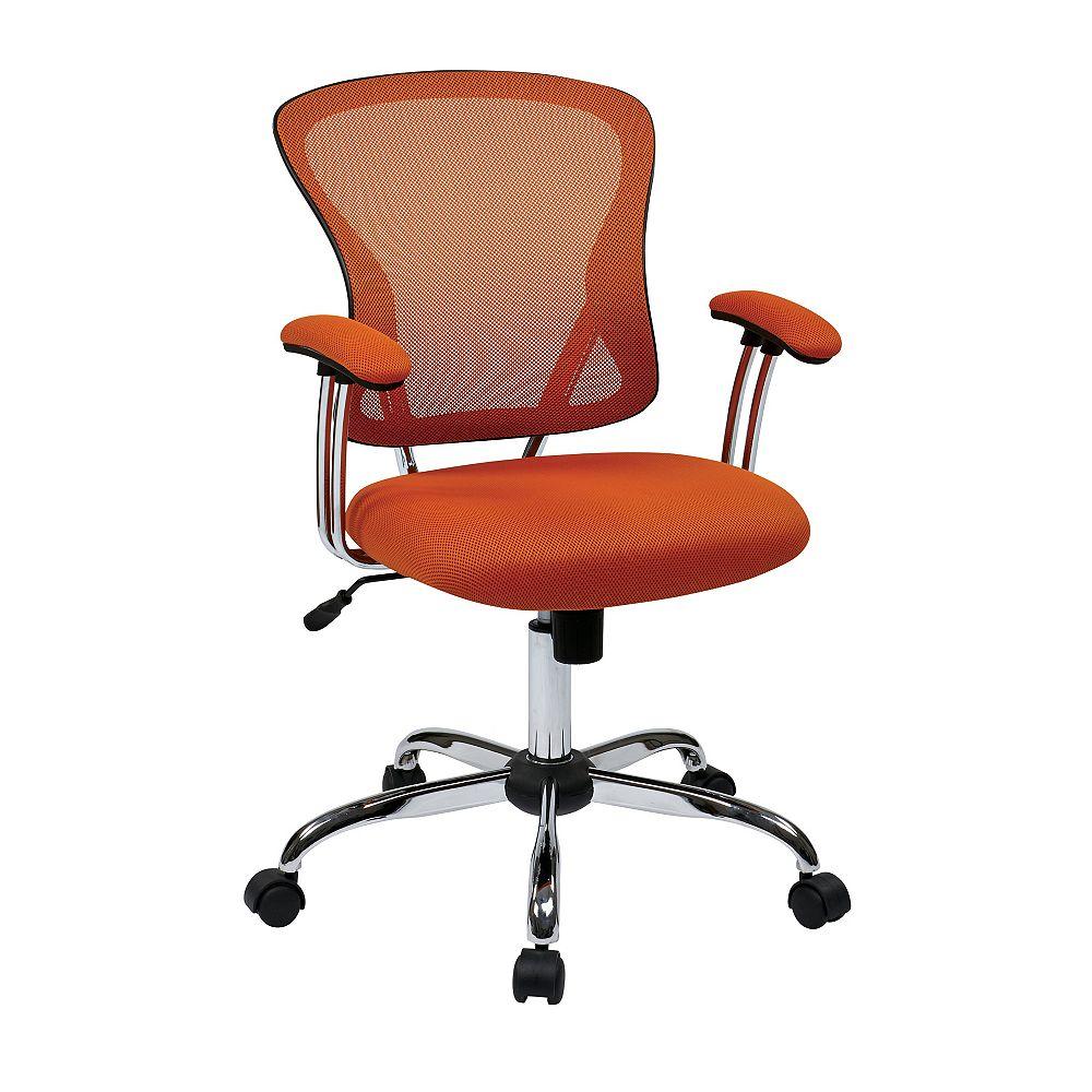Ave Six Chaise de bureau Juliana, siège en tissu maillé orange
