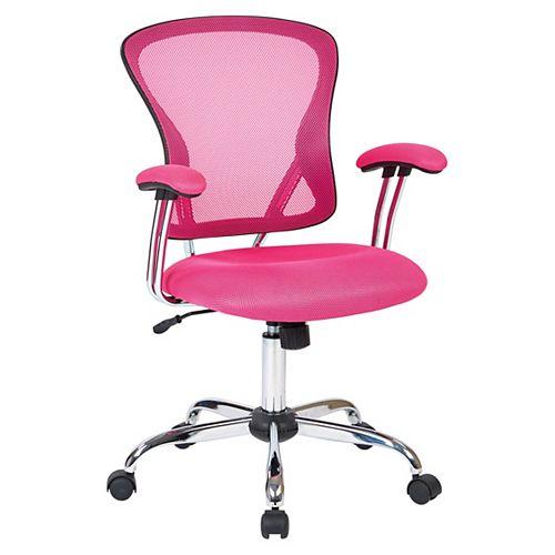 Juliana Task Chair with Pink Mesh Fabric Seat