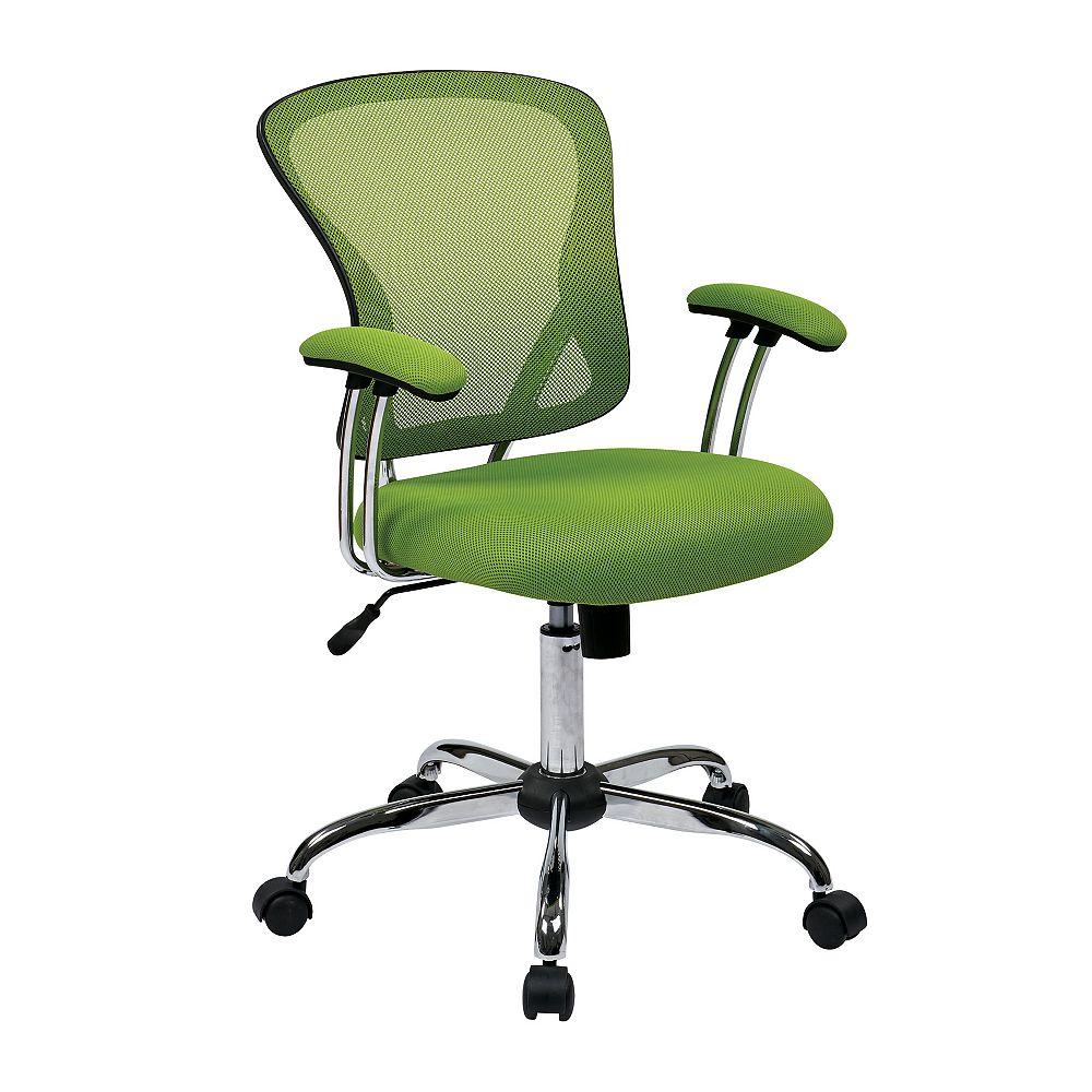 Ave Six Juliana Task Chair with Green Mesh Fabric Seat