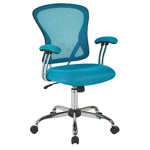 Juliana Task Chair with Blue Mesh Fabric Seat