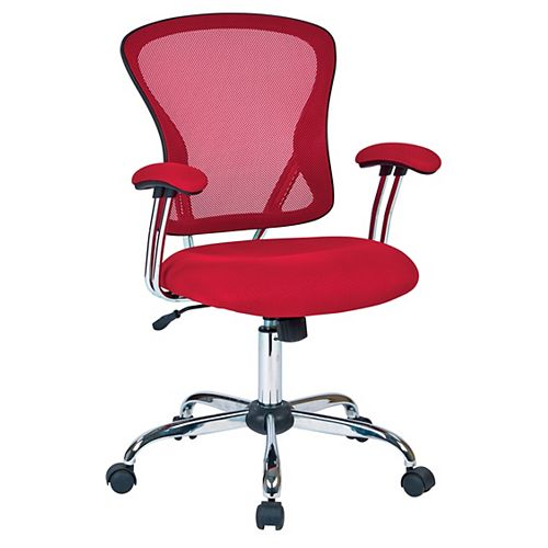 Ave Six Juliana Task Chair with Red Mesh Fabric Seat
