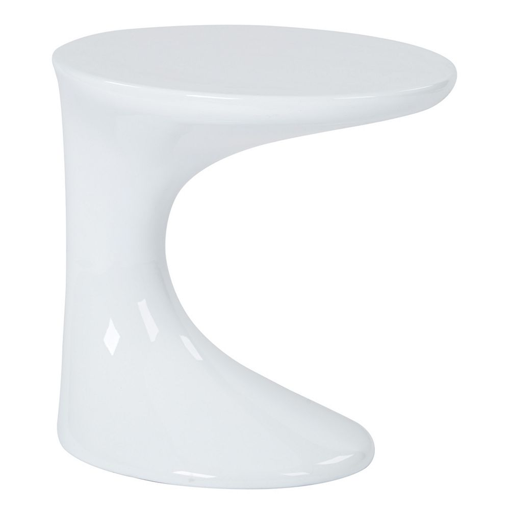 Ave Six Table d'appoint épurée, finition blanche ultra-brillante