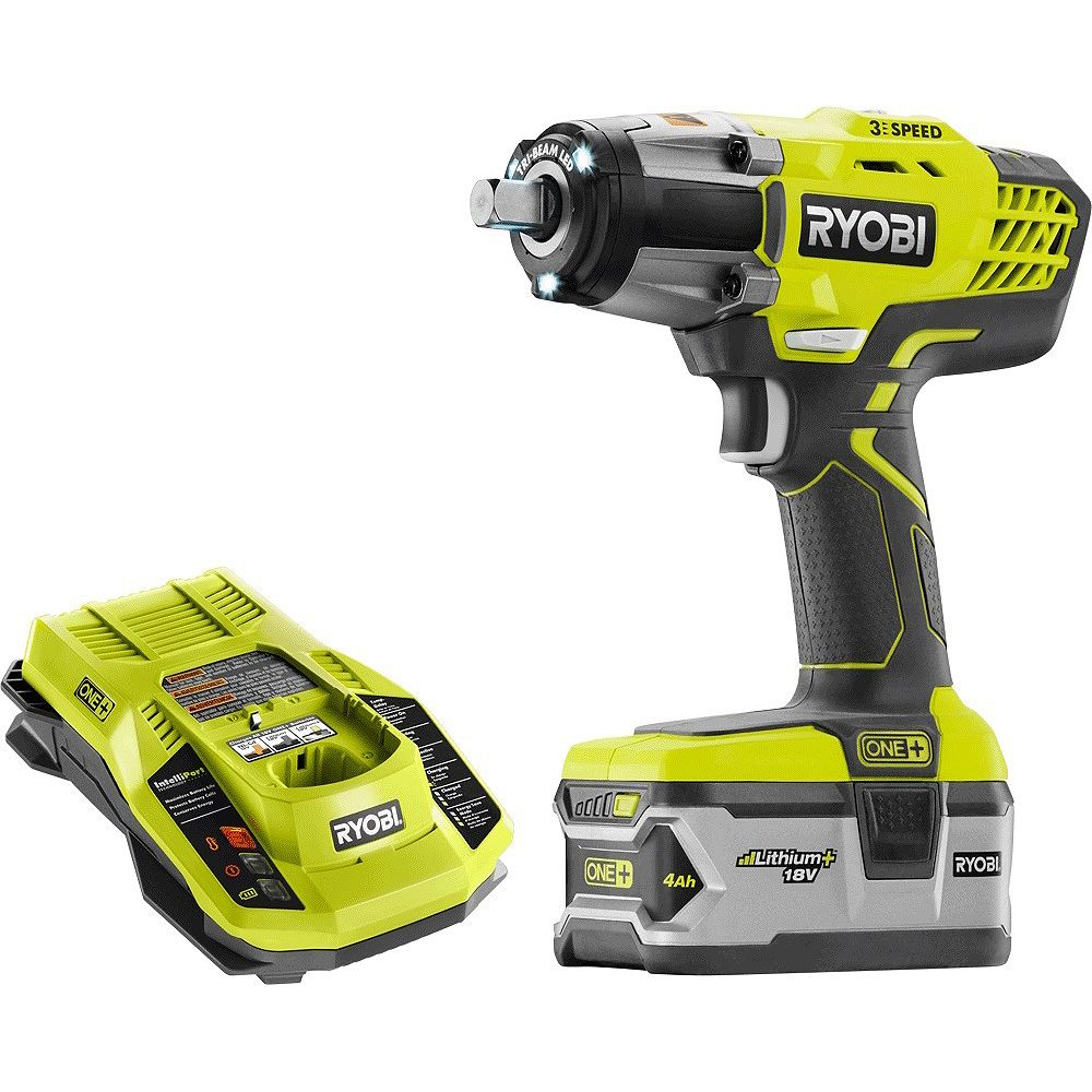 RYOBI 18V ONE+ 3-Speed Lithium-Ion 1/2-Inch Cordless Impact Wrench Kit