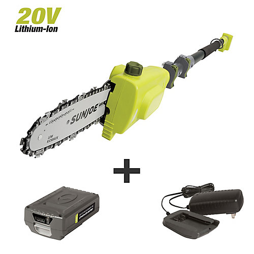8-inch 20V Cordless Telescoping Pole Chain Saw Kit with 2.0 Ah Battery + Charger