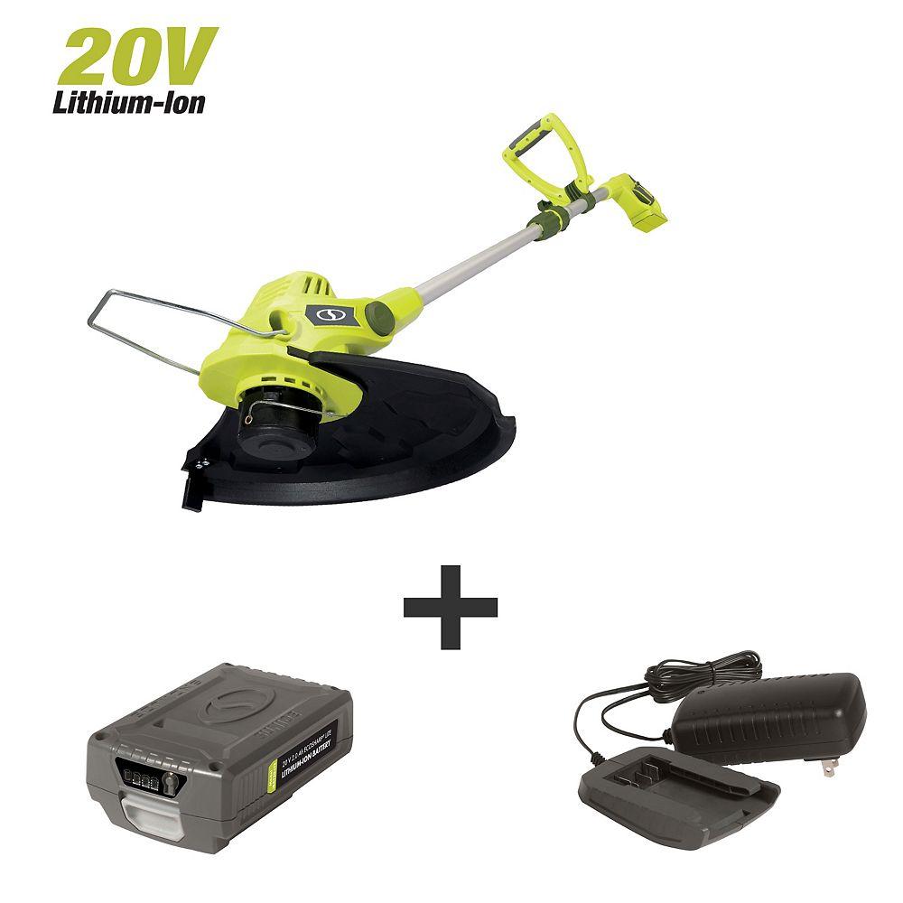 Sun Joe Taille-bordures/coupe-bordure électrique sans fil, alimentation automatique, 11 po, 20 V, 2 A