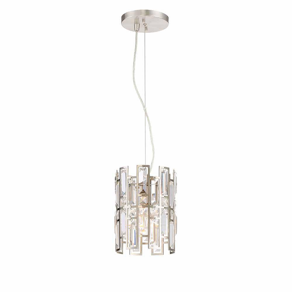 Designers Fountain Mini-suspension à 1 ampoule incandescente, fini platine satiné, éléments de verre biseauté