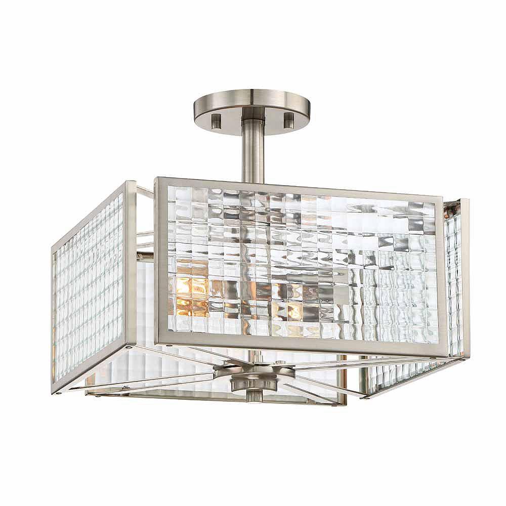Designers Fountain Semi-plafonnier à 2 ampoules incandescentes, fini platine satiné, verre clair à effet de treillis