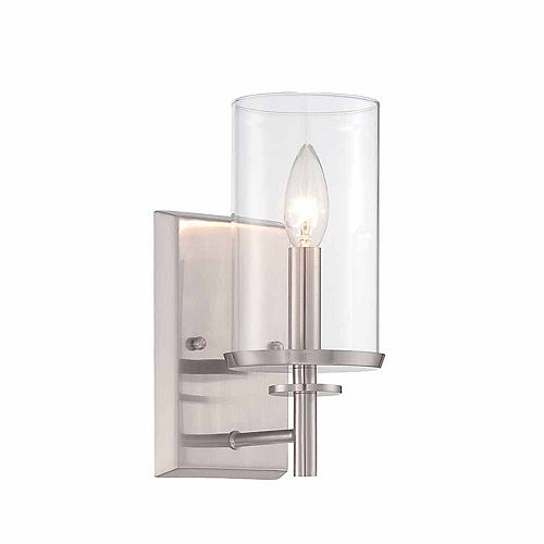1-Light Incandescent Satin Platinum Finish Wall Sconce with Clear Glass
