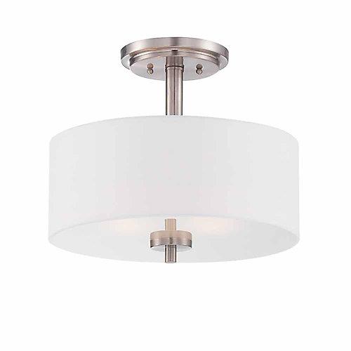 Incandescent 2-light Semi-Flush,Satin Platinum Finish, White Fabric Shade,