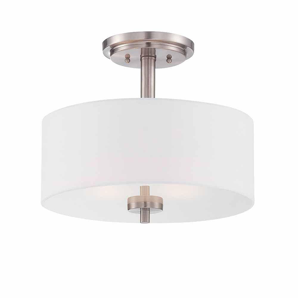 Designers Fountain Semi-plafonnier à 2 ampoules incandescentes, fini platine satiné, abat-jour en tissu blanc