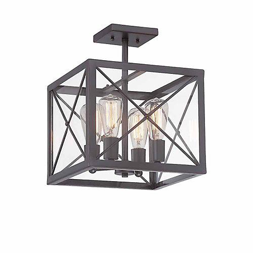 Semi-plafonnier à 4 ampoules incandescentes, fini bronze satiné, verre clair