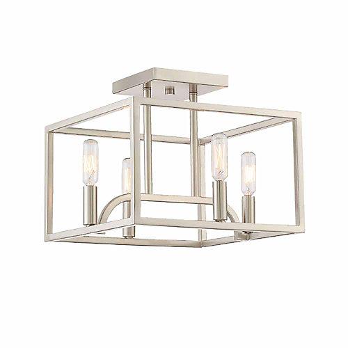 4-Light Semi-Flush Light Fixture in Satin Platinum Finish