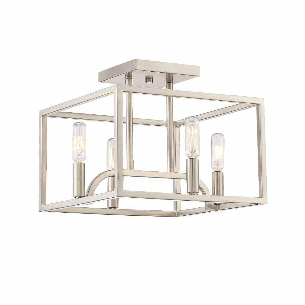 Designers Fountain Semi-plafonnier à 4 ampoules incandescentes, fini platine satiné