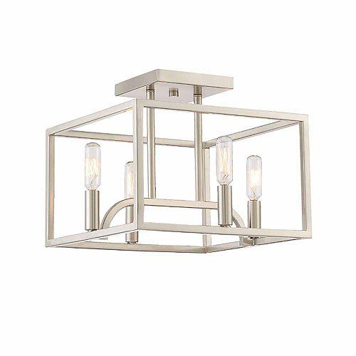 Semi-plafonnier à 4 ampoules incandescentes, fini platine satiné